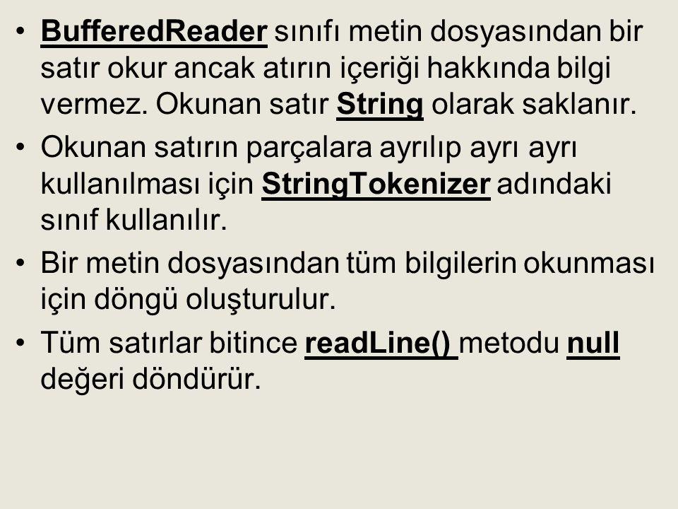 •BufferedReader sınıfı metin dosyasından bir satır okur ancak atırın içeriği hakkında bilgi vermez. Okunan satır String olarak saklanır. •Okunan satır