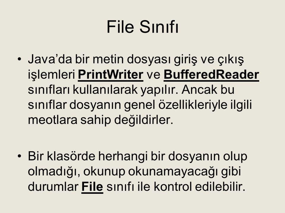 File Sınıfı •Java'da bir metin dosyası giriş ve çıkış işlemleri PrintWriter ve BufferedReader sınıfları kullanılarak yapılır. Ancak bu sınıflar dosyan