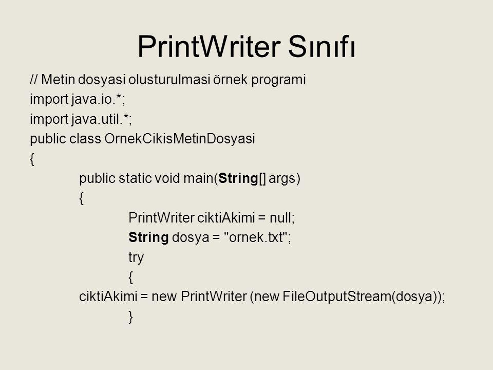 catch (FileNotFoundException hata) { System.out.println( ornek.txt dosyasi olustururken hata oldu ); System.exit(0); } System.out.print( Bir ornek cumle giriniz: ); Scanner klavye = new Scanner(System.in); String cumle = klavye.nextLine(); ciktiAkimi.println( Klavyeden girdiginiz cumle: + cumle); ciktiAkimi.println( Dosyayi kapatabiliriz. ); ciktiAkimi.close(); System.out.println( Girilen cumle ornek.txt dosyasina yazildi. ); } Ekran Çıktısı: Bir ornek cumle giriniz: Ben Java kitabı okuyorum Girilen cumle ornek.txt dosyasina yazildi.