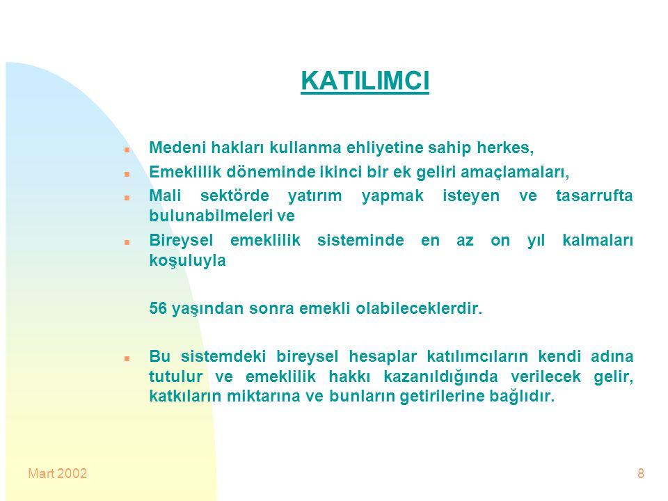 Mart 20028 KATILIMCI n Medeni hakları kullanma ehliyetine sahip herkes, n Emeklilik döneminde ikinci bir ek geliri amaçlamaları, n Mali sektörde yatır