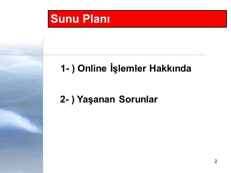 2 1- ) Online İşlemler Hakkında 2- ) Yaşanan Sorunlar Sunu Planı