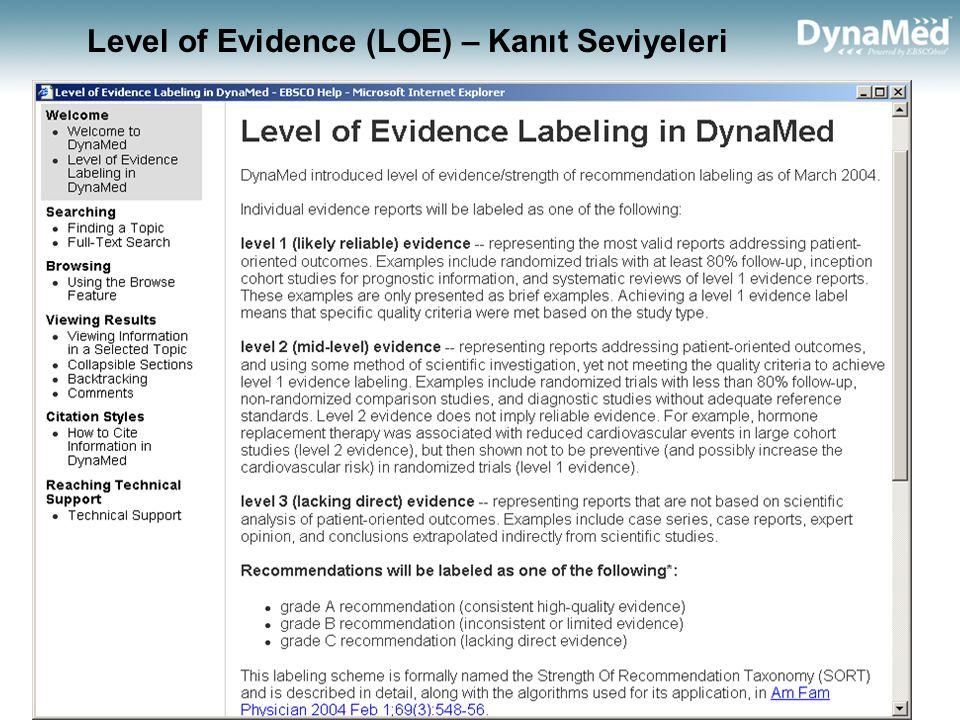 Level of Evidence (LOE) – Kanıt Seviyeleri