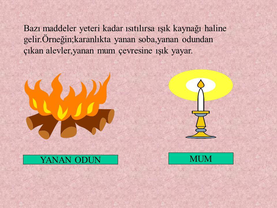 Bazı maddeler yeteri kadar ısıtılırsa ışık kaynağı haline gelir.Örneğin;karanlıkta yanan soba,yanan odundan çıkan alevler,yanan mum çevresine ışık yay