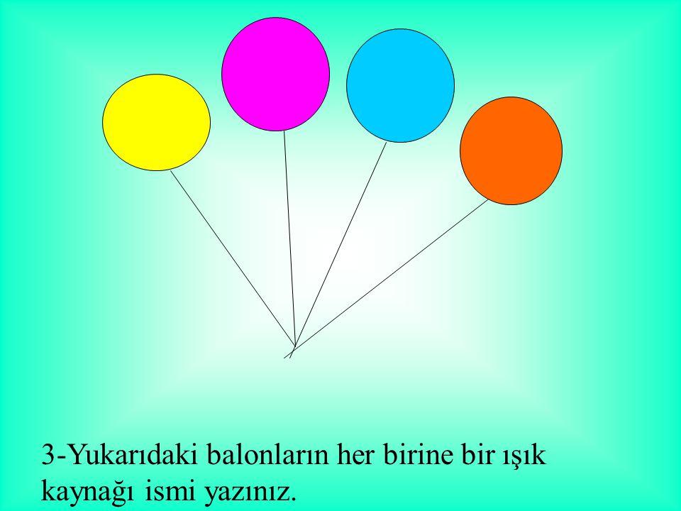 3-Yukarıdaki balonların her birine bir ışık kaynağı ismi yazınız.