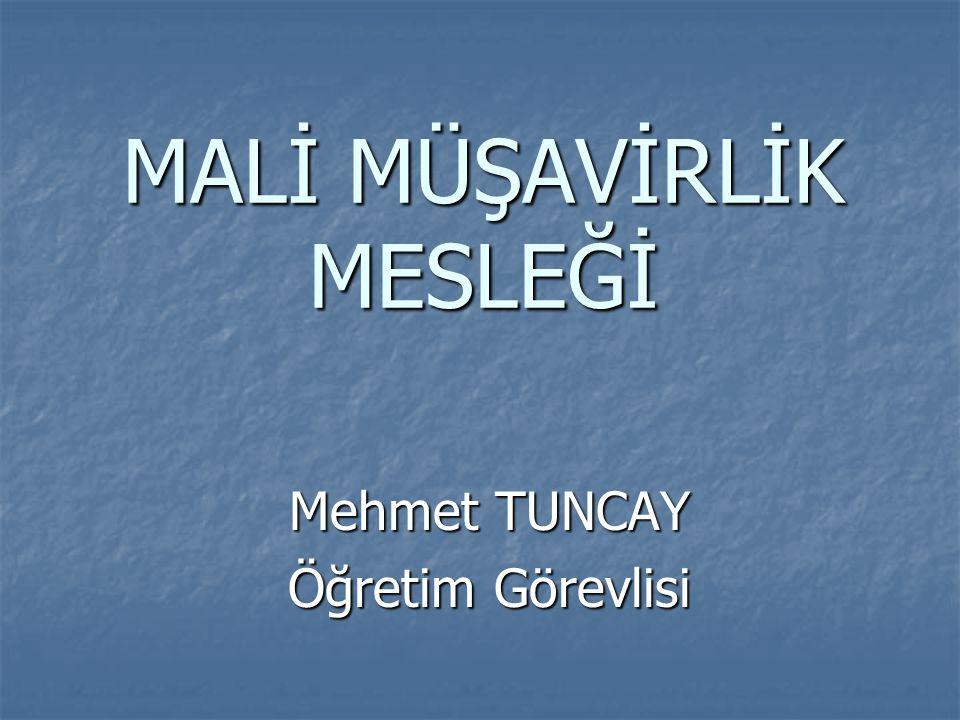 MALİ MÜŞAVİRLİK MESLEĞİ Mehmet TUNCAY Öğretim Görevlisi