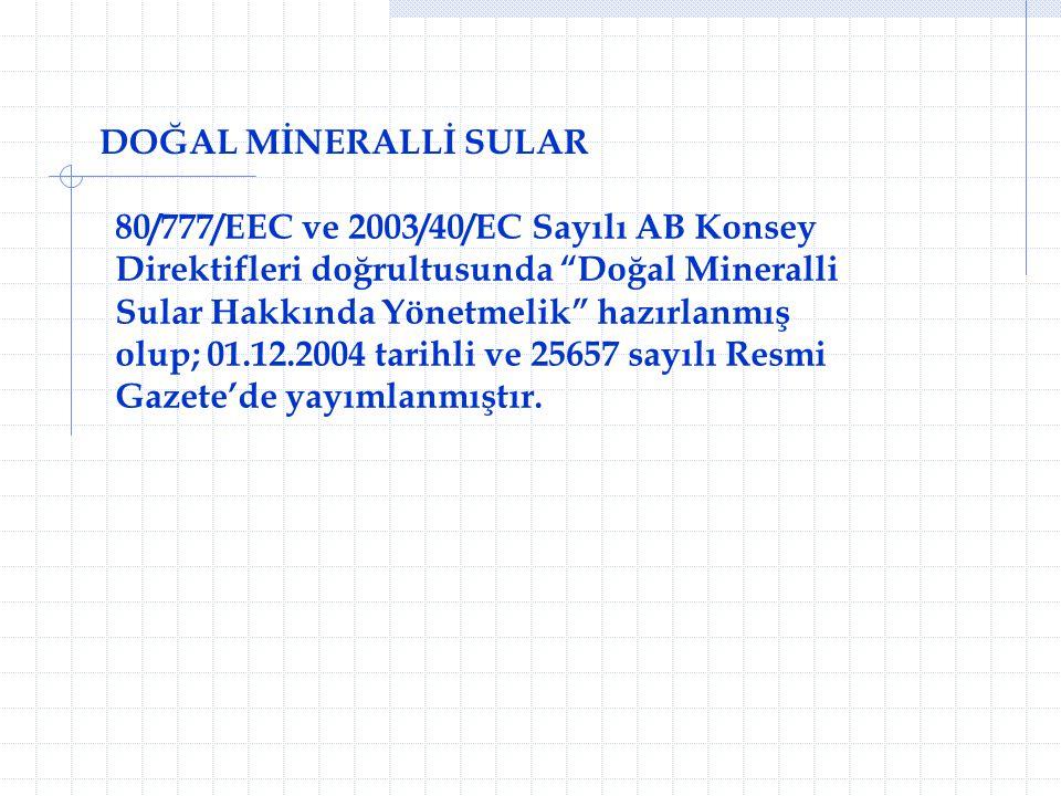 """DOĞAL MİNERALLİ SULAR 80/777/EEC ve 2003/40/EC Sayılı AB Konsey Direktifleri doğrultusunda """"Doğal Mineralli Sular Hakkında Yönetmelik"""" hazırlanmış olu"""