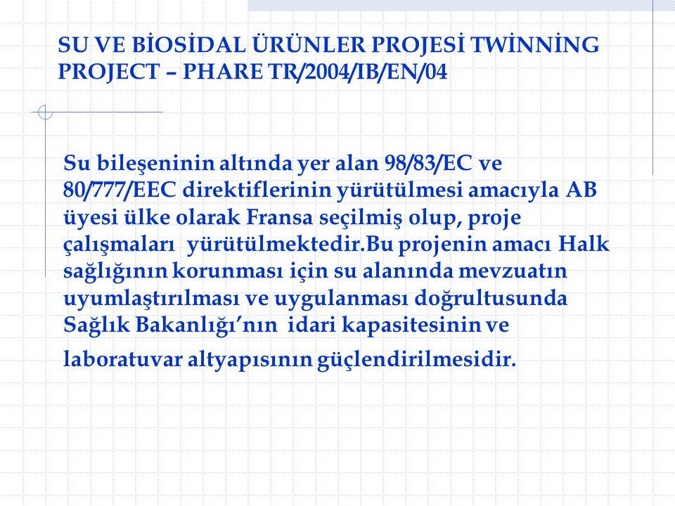 SU VE BİOSİDAL ÜRÜNLER PROJESİ TWİNNİNG PROJECT – PHARE TR/2004/IB/EN/04 Su bileşeninin altında yer alan 98/83/EC ve 80/777/EEC direktiflerinin yürütü