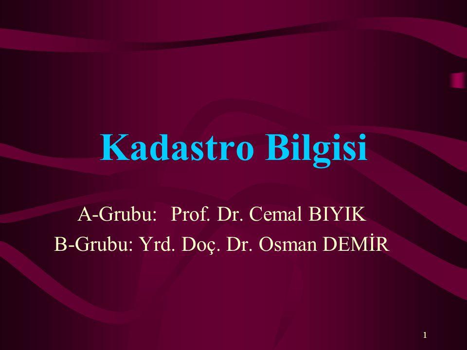 Kadastro Bilgisi A-Grubu:Prof. Dr. Cemal BIYIK B-Grubu: Yrd. Doç. Dr. Osman DEMİR 1