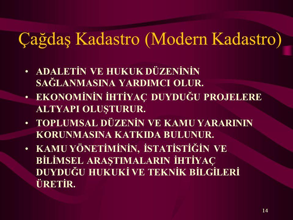 Çağdaş Kadastro (Modern Kadastro) •ADALETİN VE HUKUK DÜZENİNİN SAĞLANMASINA YARDIMCI OLUR.