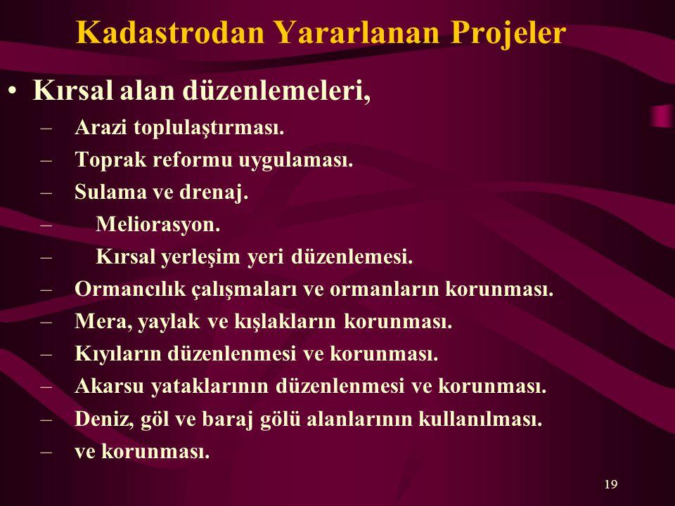 Kadastrodan Yararlanan Projeler •Kırsal alan düzenlemeleri, –Arazi toplulaştırması.