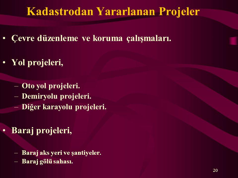 Kadastrodan Yararlanan Projeler •Çevre düzenleme ve koruma çalışmaları. •Yol projeleri, –Oto yol projeleri. –Demiryolu projeleri. –Diğer karayolu proj