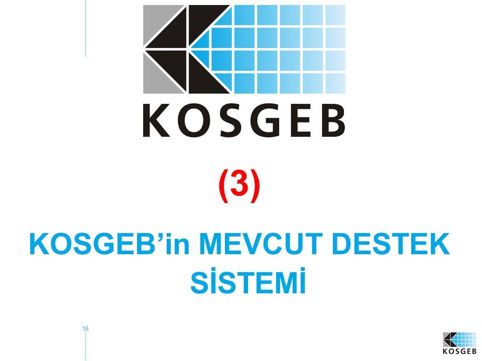 16 (3) KOSGEB'in MEVCUT DESTEK SİSTEMİ