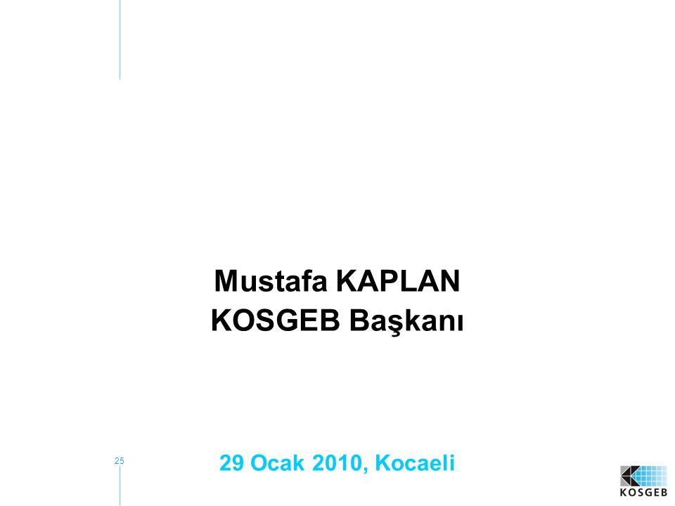 25 Mustafa KAPLAN KOSGEB Başkanı 29 Ocak 2010, Kocaeli