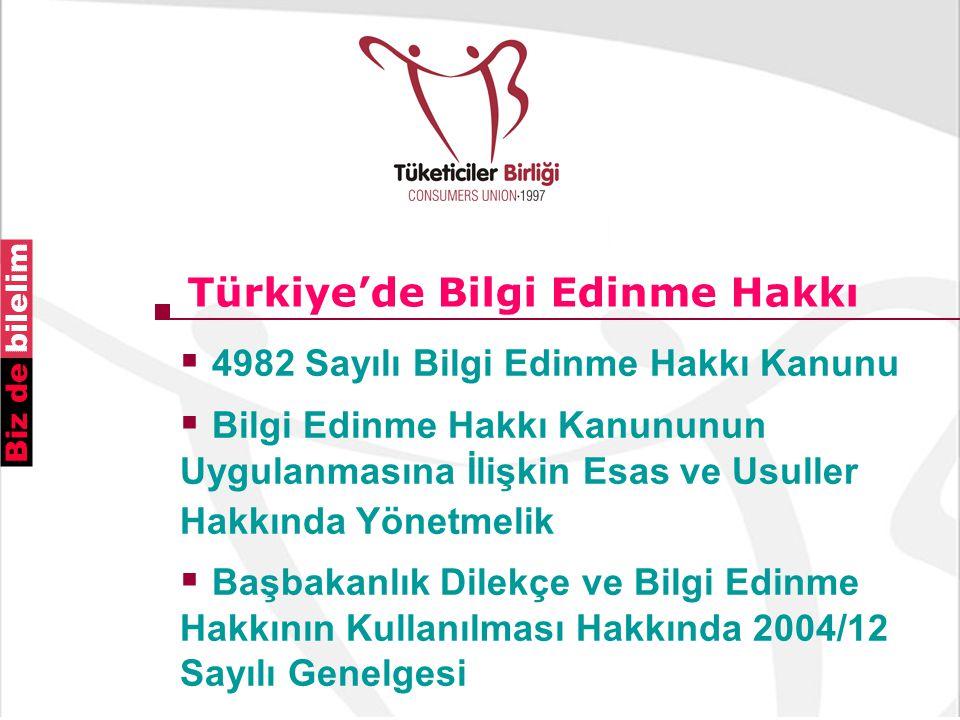 Türkiye'de Bilgi Edinme Hakkı  4982 Sayılı Bilgi Edinme Hakkı Kanunu  Bilgi Edinme Hakkı Kanununun Uygulanmasına İlişkin Esas ve Usuller Hakkında Yönetmelik  Başbakanlık Dilekçe ve Bilgi Edinme Hakkının Kullanılması Hakkında 2004/12 Sayılı Genelgesi