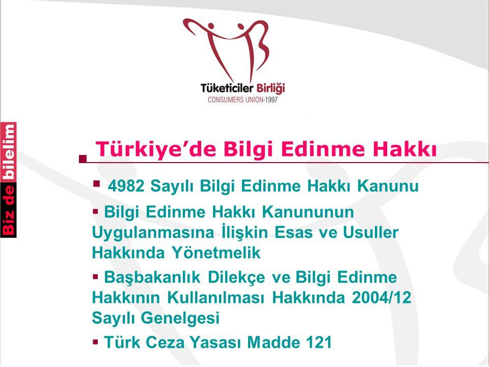 Türkiye'de Bilgi Edinme Hakkı  4982 Sayılı Bilgi Edinme Hakkı Kanunu  Bilgi Edinme Hakkı Kanununun Uygulanmasına İlişkin Esas ve Usuller Hakkında Yönetmelik  Başbakanlık Dilekçe ve Bilgi Edinme Hakkının Kullanılması Hakkında 2004/12 Sayılı Genelgesi  Türk Ceza Yasası Madde 121