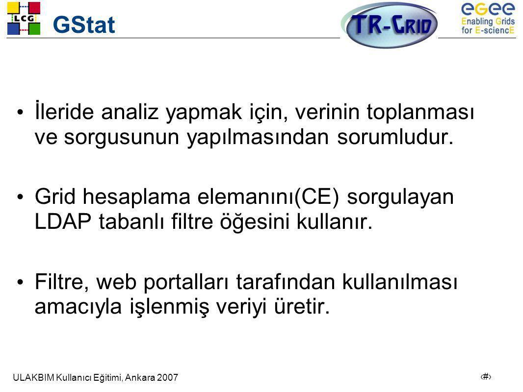 ULAKBIM Kullanıcı Eğitimi, Ankara 2007 10 GStat • İleride analiz yapmak için, verinin toplanması ve sorgusunun yapılmasından sorumludur.