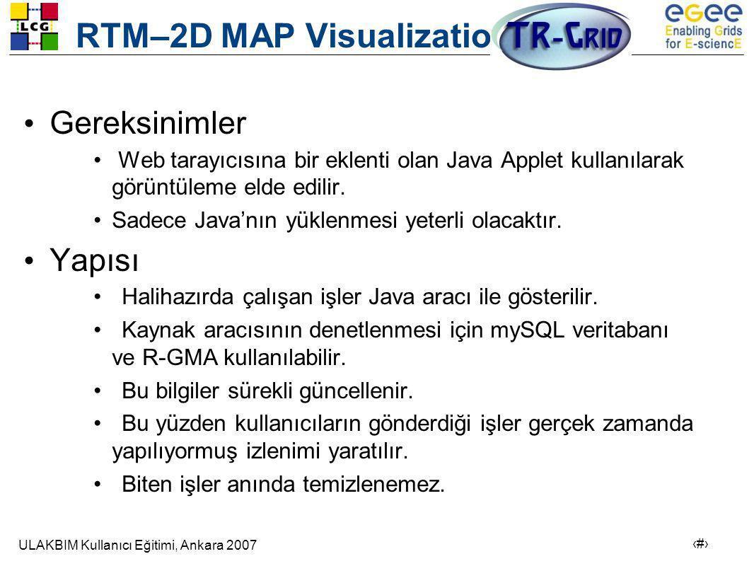 ULAKBIM Kullanıcı Eğitimi, Ankara 2007 14 RTM–2D MAP Visualization • Gereksinimler • Web tarayıcısına bir eklenti olan Java Applet kullanılarak görüntüleme elde edilir.