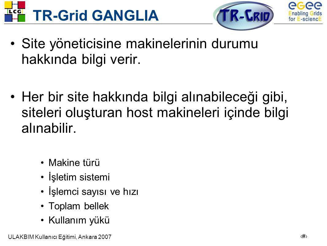 ULAKBIM Kullanıcı Eğitimi, Ankara 2007 18 TR-Grid GANGLIA •Site yöneticisine makinelerinin durumu hakkında bilgi verir.