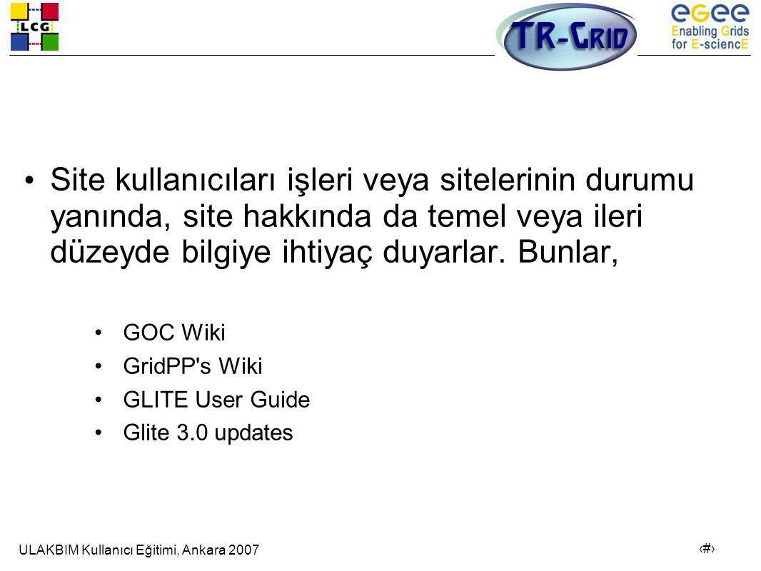 ULAKBIM Kullanıcı Eğitimi, Ankara 2007 21 • Site kullanıcıları işleri veya sitelerinin durumu yanında, site hakkında da temel veya ileri düzeyde bilgiye ihtiyaç duyarlar.