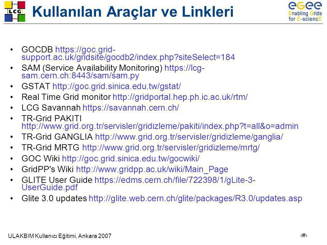 ULAKBIM Kullanıcı Eğitimi, Ankara 2007 25 Kullanılan Araçlar ve Linkleri • GOCDB https://goc.grid- support.ac.uk/gridsite/gocdb2/index.php?siteSelect=184 • SAM (Service Availability Monitoring) https://lcg- sam.cern.ch:8443/sam/sam.py • GSTAT http://goc.grid.sinica.edu.tw/gstat/ • Real Time Grid monitor http://gridportal.hep.ph.ic.ac.uk/rtm/ • LCG Savannah https://savannah.cern.ch/ • TR-Grid PAKITI http://www.grid.org.tr/servisler/gridizleme/pakiti/index.php?t=all&o=admin • TR-Grid GANGLIA http://www.grid.org.tr/servisler/gridizleme/ganglia/ • TR-Grid MRTG http://www.grid.org.tr/servisler/gridizleme/mrtg/ • GOC Wiki http://goc.grid.sinica.edu.tw/gocwiki/ • GridPP s Wiki http://www.gridpp.ac.uk/wiki/Main_Page • GLITE User Guide https://edms.cern.ch/file/722398/1/gLite-3- UserGuide.pdf • Glite 3.0 updates http://glite.web.cern.ch/glite/packages/R3.0/updates.asp