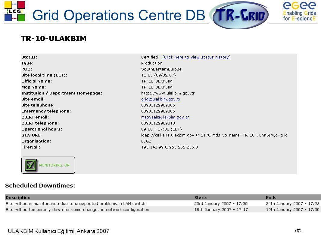ULAKBIM Kullanıcı Eğitimi, Ankara 2007 5 Grid Operations Centre DB
