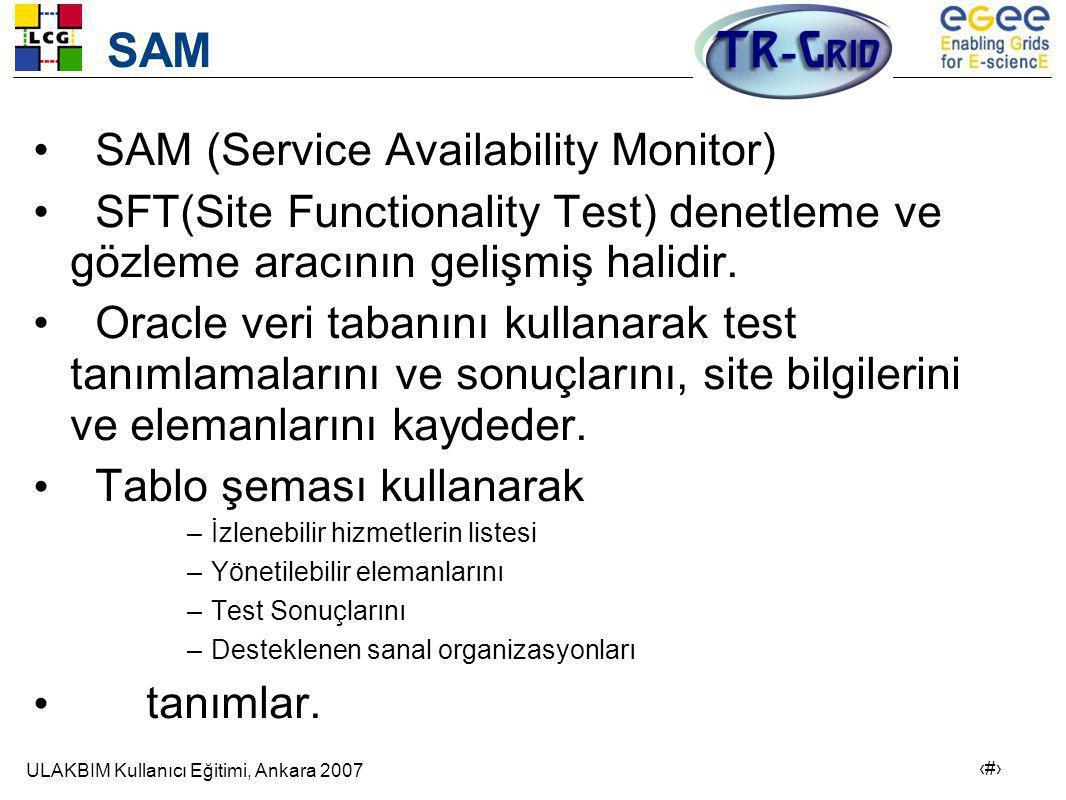 ULAKBIM Kullanıcı Eğitimi, Ankara 2007 6 SAM • SAM (Service Availability Monitor) • SFT(Site Functionality Test) denetleme ve gözleme aracının gelişmiş halidir.