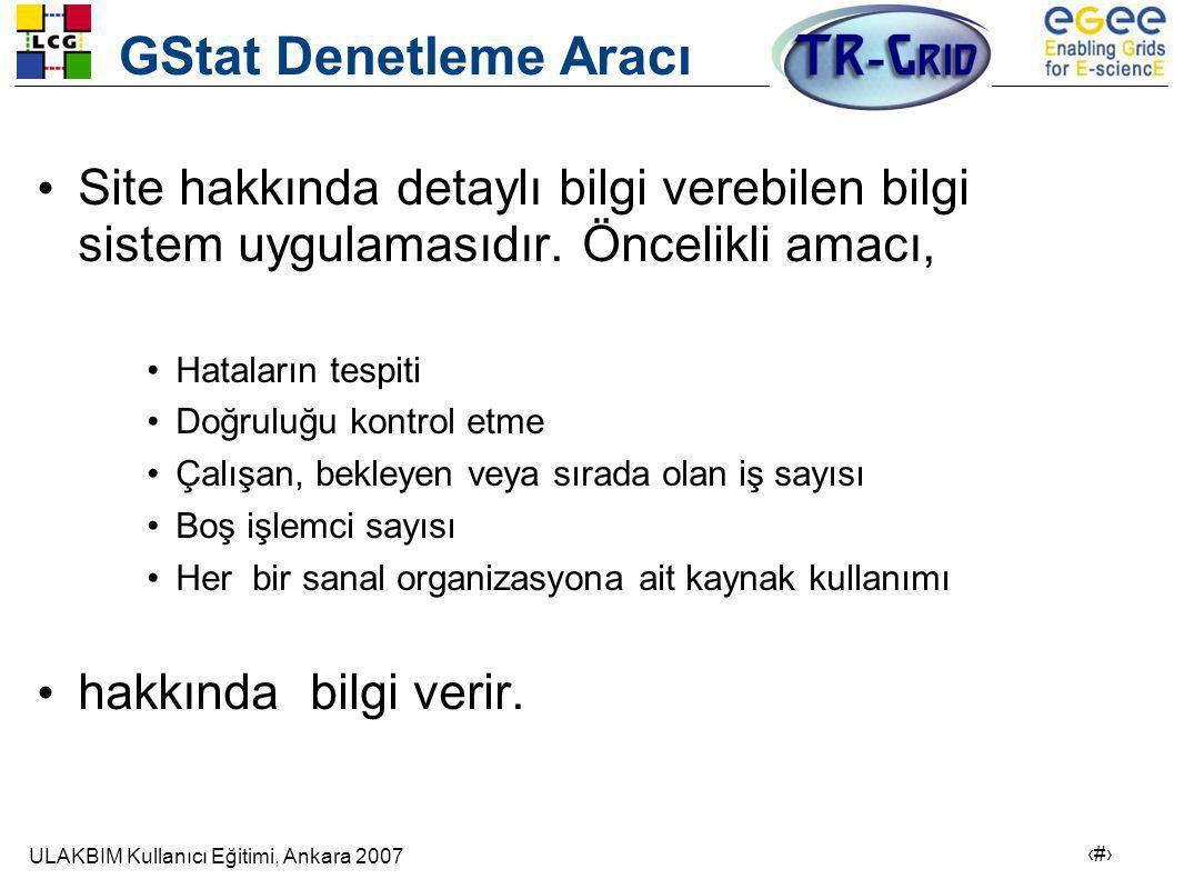 ULAKBIM Kullanıcı Eğitimi, Ankara 2007 9 GStat Denetleme Aracı • Site hakkında detaylı bilgi verebilen bilgi sistem uygulamasıdır.