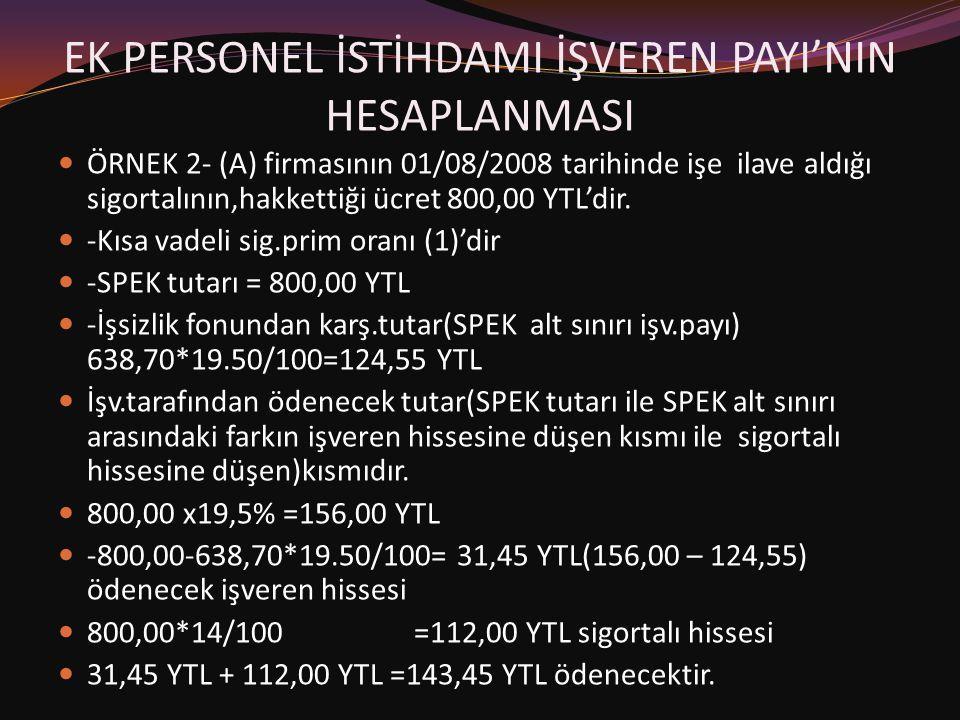 EK PERSONEL İSTİHDAMI İŞVEREN PAYI'NIN HESAPLANMASI  ÖRNEK 2- (A) firmasının 01/08/2008 tarihinde işe ilave aldığı sigortalının,hakkettiği ücret 800,