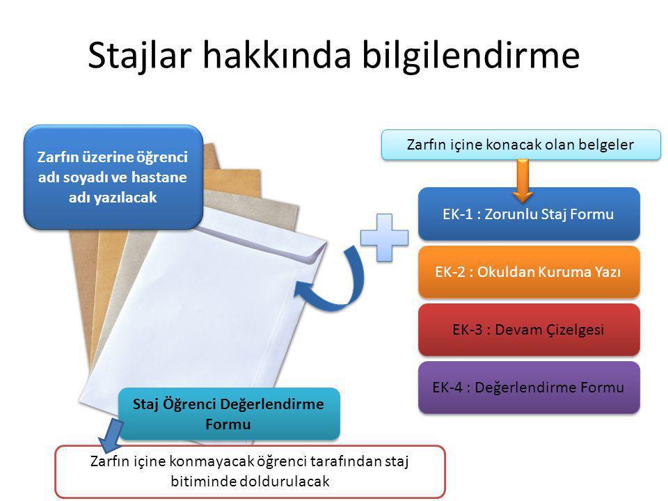 Stajlar hakkında bilgilendirme EK-1 : Zorunlu Staj Formu EK-2 : Okuldan Kuruma Yazı EK-4 : Değerlendirme Formu Staj Öğrenci Değerlendirme Formu Zarfın