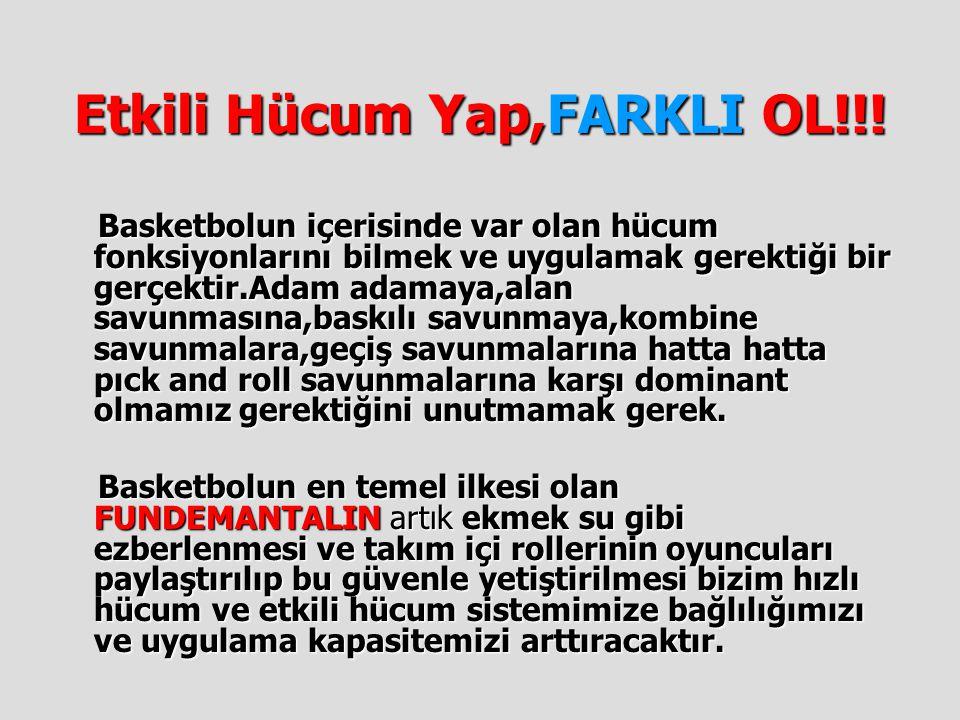 Etkili Hücum Yap,FARKLI OL!!! Basketbolun içerisinde var olan hücum fonksiyonlarını bilmek ve uygulamak gerektiği bir gerçektir.Adam adamaya,alan savu