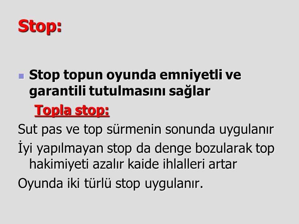 Stop:  Stop topun oyunda emniyetli ve garantili tutulmasını sağlar Topla stop: Topla stop: Sut pas ve top sürmenin sonunda uygulanır İyi yapılmayan s
