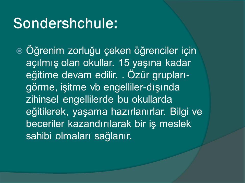 Sondershchule:  Öğrenim zorluğu çeken öğrenciler için açılmış olan okullar. 15 yaşına kadar eğitime devam edilir.. Özür grupları- görme, işitme vb en