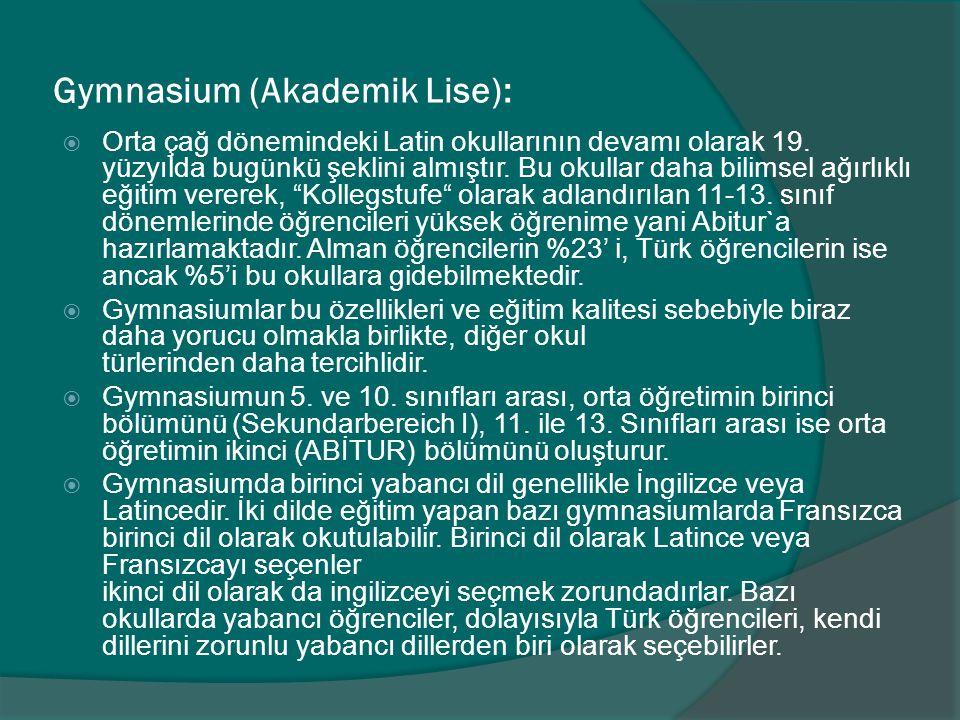 Gymnasium (Akademik Lise):  Orta çağ dönemindeki Latin okullarının devamı olarak 19.