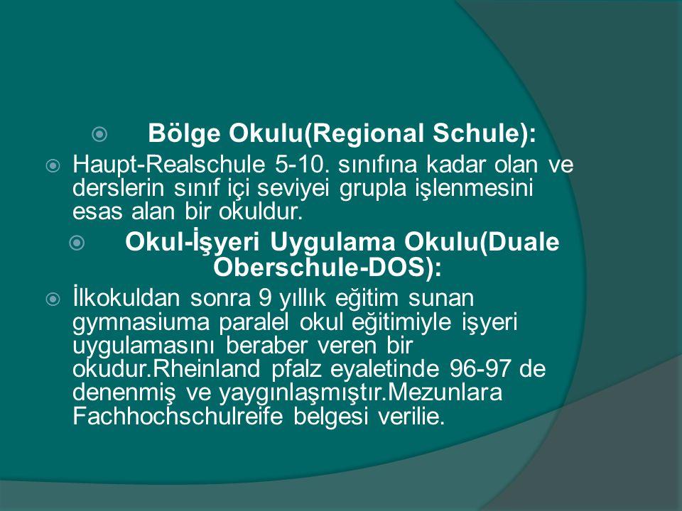  Bölge Okulu(Regional Schule):  Haupt-Realschule 5-10.