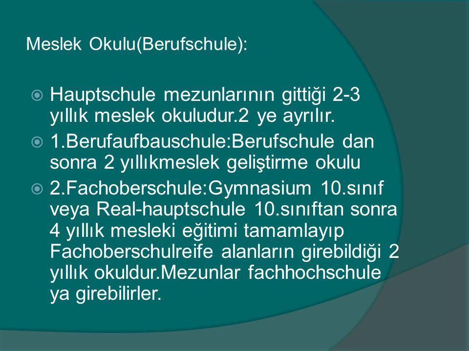 Meslek Okulu(Berufschule):  Hauptschule mezunlarının gittiği 2-3 yıllık meslek okuludur.2 ye ayrılır.  1.Berufaufbauschule:Berufschule dan sonra 2 y