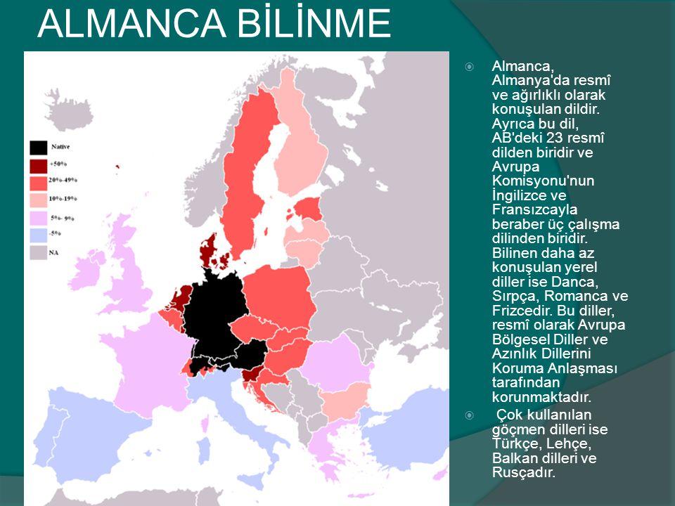 ALMANCA BİLİNME ORANLARI  Almanca, Almanya'da resmî ve ağırlıklı olarak konuşulan dildir. Ayrıca bu dil, AB'deki 23 resmî dilden biridir ve Avrupa Ko