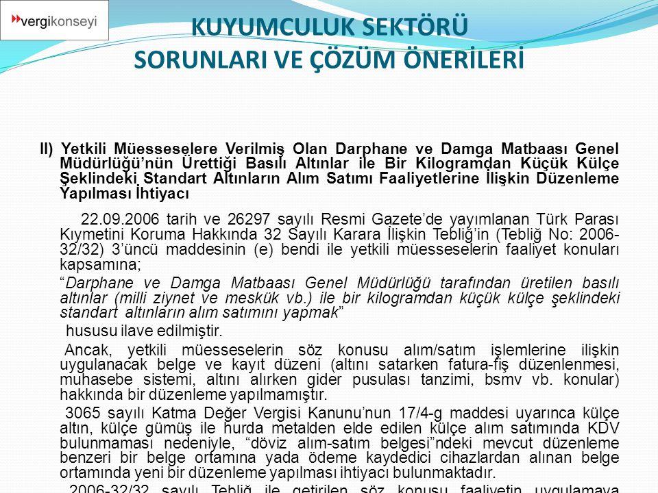 II) Yetkili Müesseselere Verilmiş Olan Darphane ve Damga Matbaası Genel Müdürlüğü'nün Ürettiği Basılı Altınlar ile Bir Kilogramdan Küçük Külçe Şeklind
