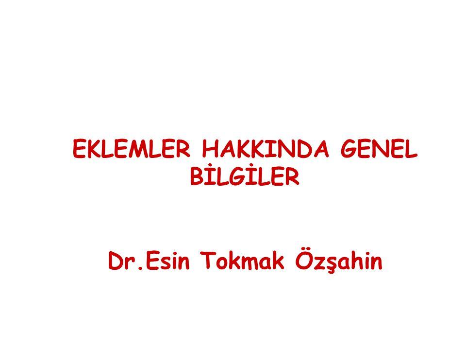 EKLEMLER HAKKINDA GENEL BİLGİLER Dr.Esin Tokmak Özşahin