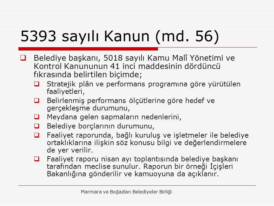Marmara ve Boğazları Belediyeler Birliği 5393 sayılı Kanun (md.