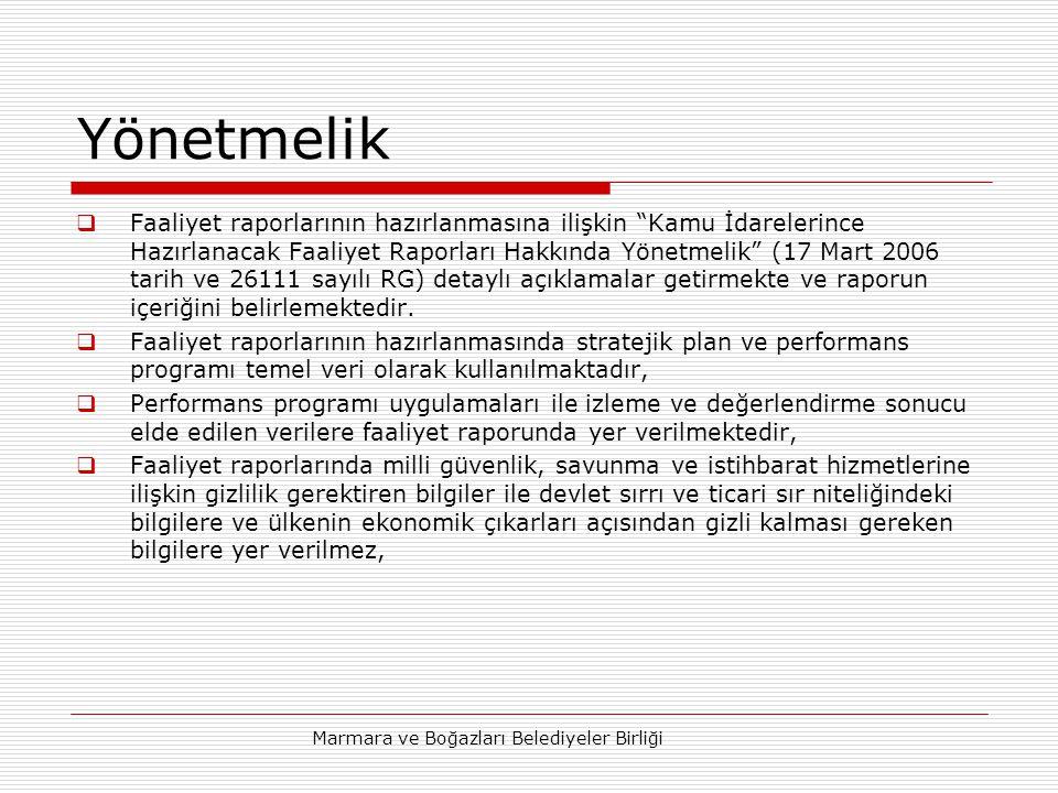 Marmara ve Boğazları Belediyeler Birliği Yönetmelik  Faaliyet raporlarının hazırlanmasına ilişkin Kamu İdarelerince Hazırlanacak Faaliyet Raporları Hakkında Yönetmelik (17 Mart 2006 tarih ve 26111 sayılı RG) detaylı açıklamalar getirmekte ve raporun içeriğini belirlemektedir.