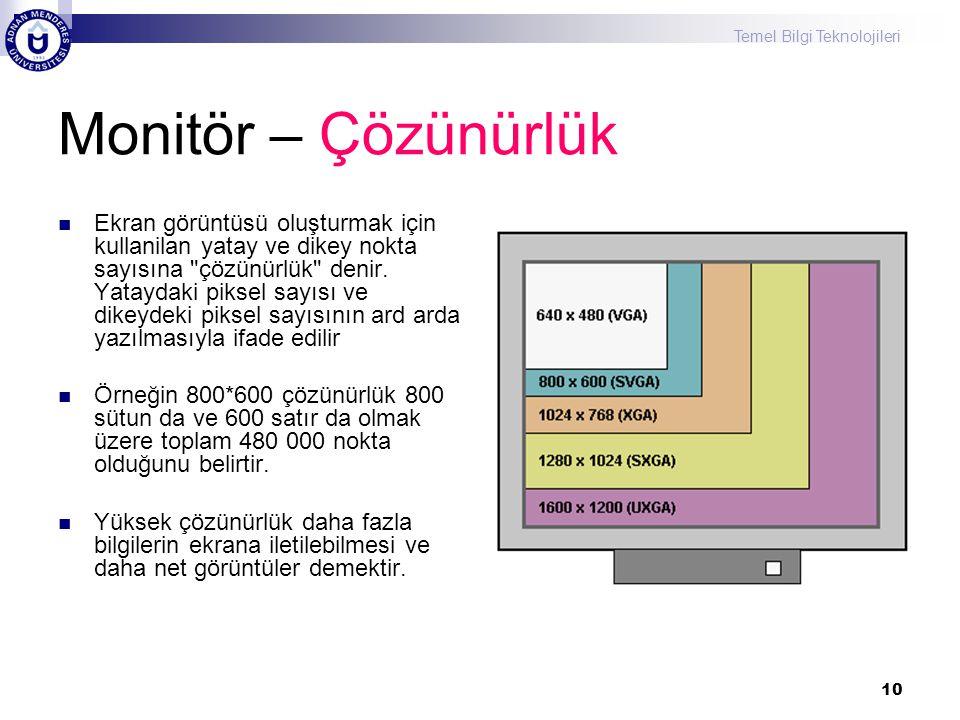 Temel Bilgi Teknolojileri 10 Monitör – Çözünürlük  Ekran görüntüsü oluşturmak için kullanilan yatay ve dikey nokta sayısına