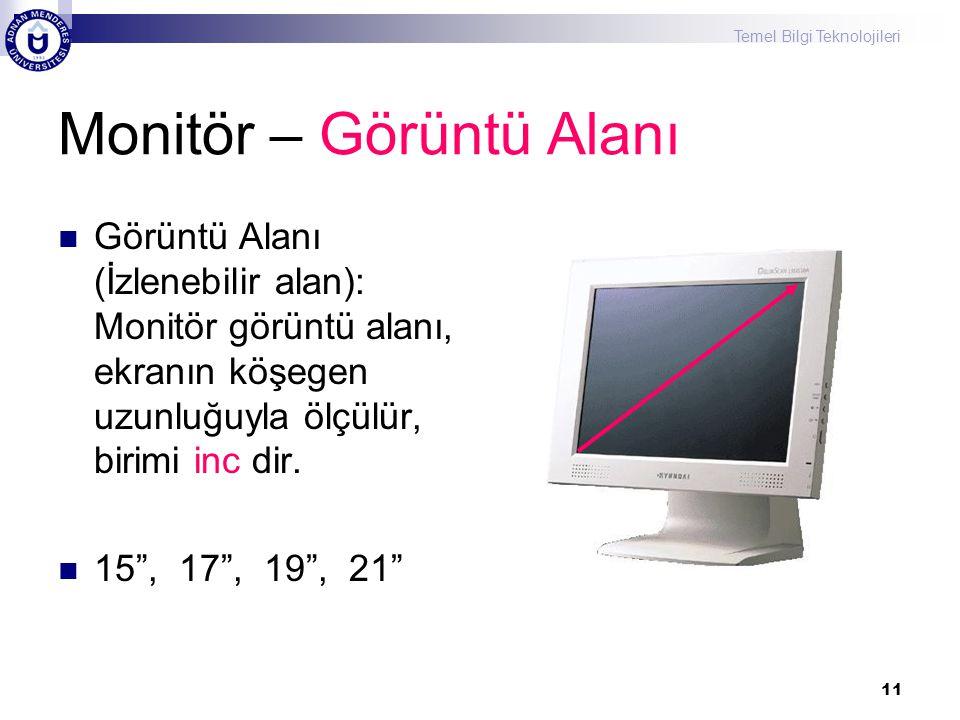 Temel Bilgi Teknolojileri 11 Monitör – Görüntü Alanı  Görüntü Alanı (İzlenebilir alan): Monitör görüntü alanı, ekranın köşegen uzunluğuyla ölçülür, b