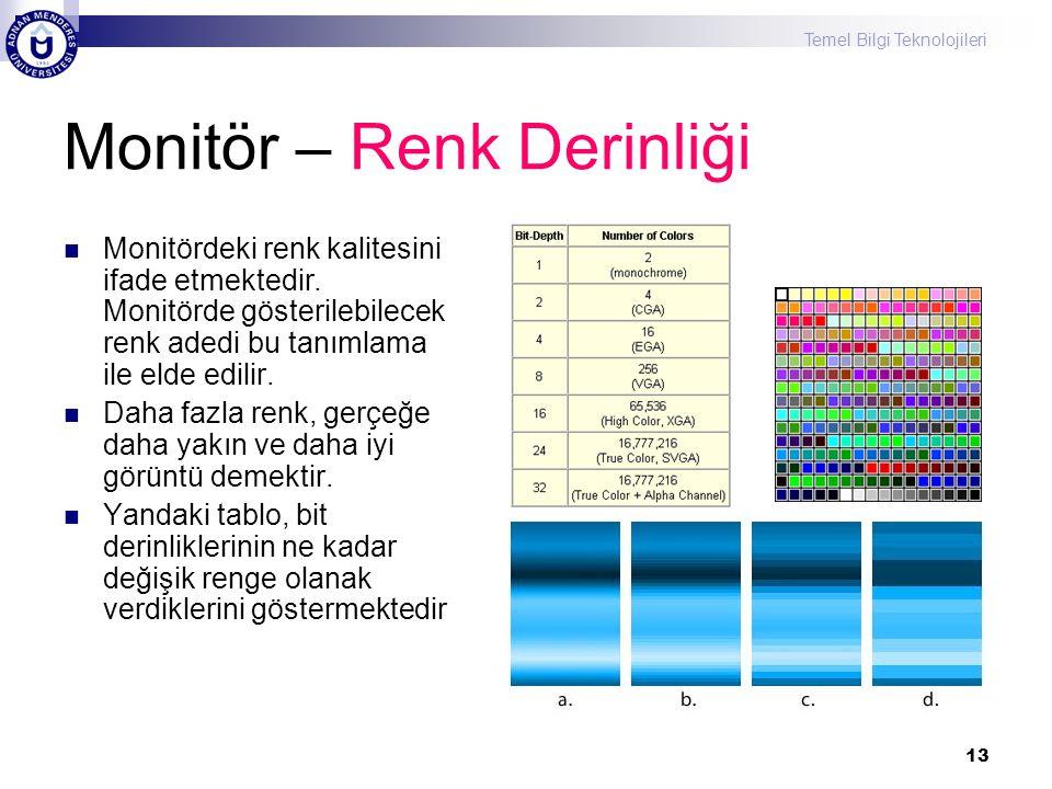 Temel Bilgi Teknolojileri 13 Monitör – Renk Derinliği  Monitördeki renk kalitesini ifade etmektedir. Monitörde gösterilebilecek renk adedi bu tanımla