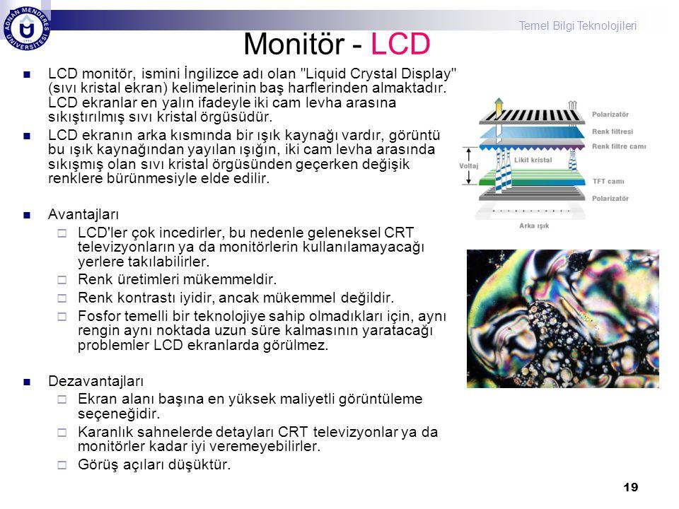 Temel Bilgi Teknolojileri 19 Monitör - LCD  LCD monitör, ismini İngilizce adı olan