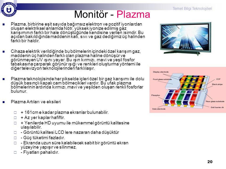 Temel Bilgi Teknolojileri 20 Monitör - Plazma  Plazma, birbirine eşit sayıda bağımsız elektron ve pozitif iyonlardan oluşan elektriksel anlamda Nötr,