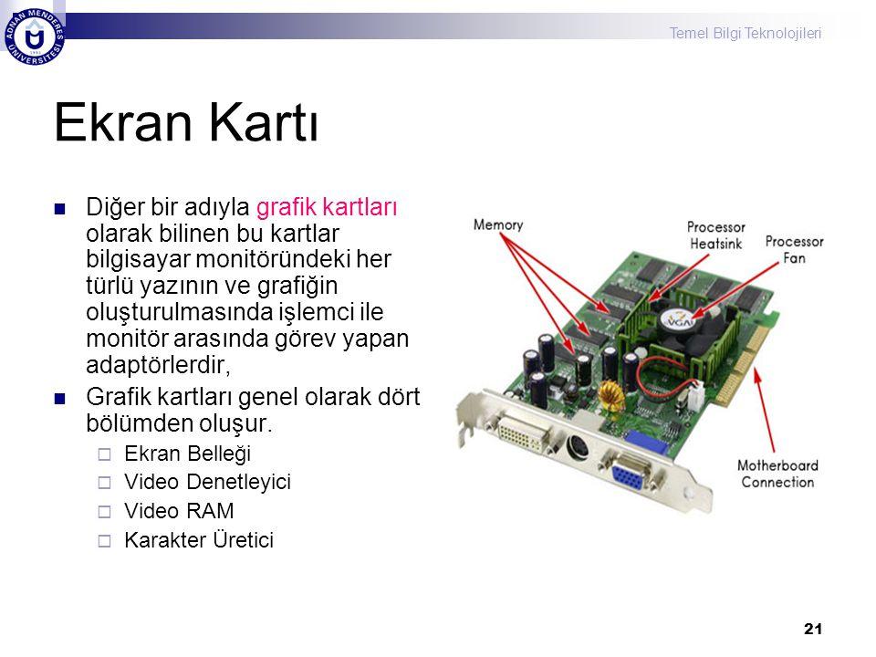 Temel Bilgi Teknolojileri 21 Ekran Kartı  Diğer bir adıyla grafik kartları olarak bilinen bu kartlar bilgisayar monitöründeki her türlü yazının ve gr