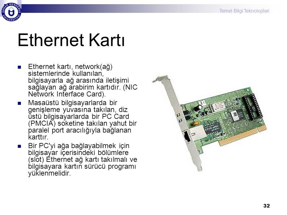 Temel Bilgi Teknolojileri 32 Ethernet Kartı  Ethernet kartı, network(ağ) sistemlerinde kullanılan, bilgisayarla ağ arasında iletişimi sağlayan ağ ara