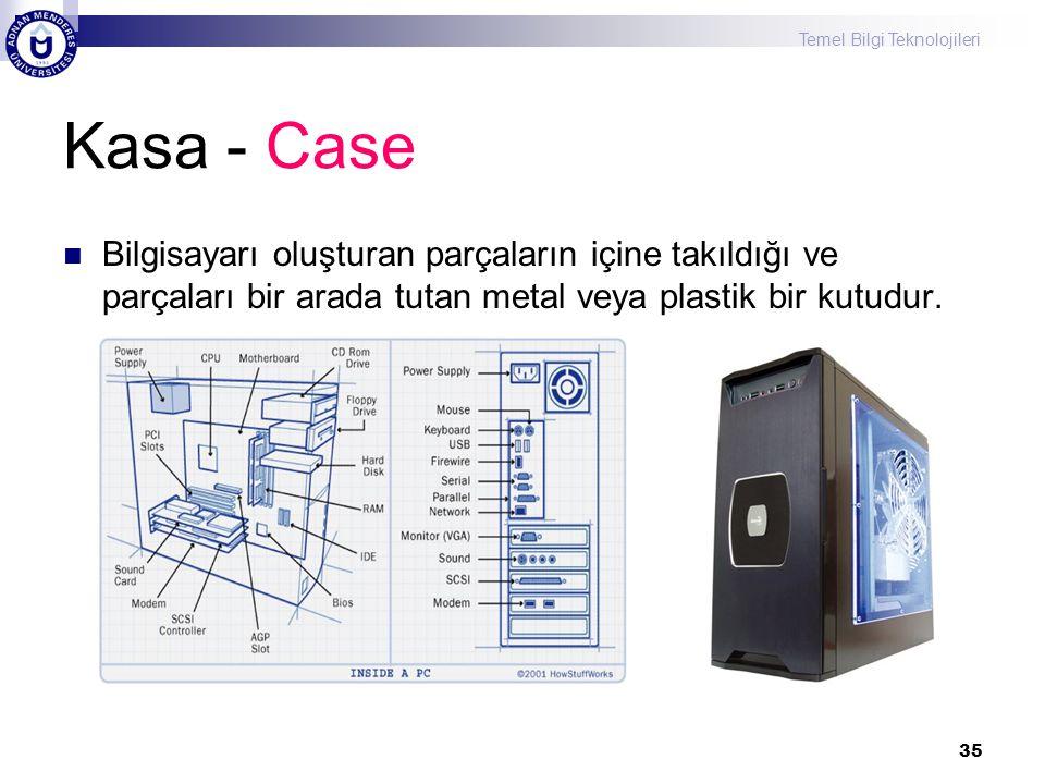 Temel Bilgi Teknolojileri 35 Kasa - Case  Bilgisayarı oluşturan parçaların içine takıldığı ve parçaları bir arada tutan metal veya plastik bir kutudu