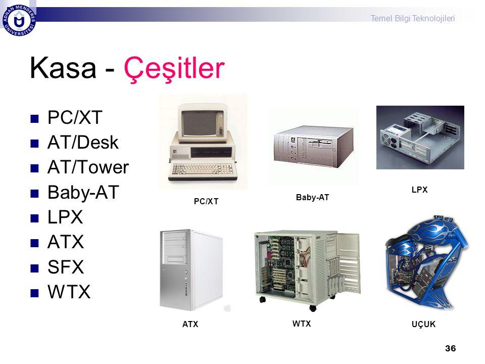 Temel Bilgi Teknolojileri 36 Kasa - Çeşitler  PC/XT  AT/Desk  AT/Tower  Baby-AT  LPX  ATX  SFX  WTX PC/XT Baby-AT LPX ATX WTX UÇUK