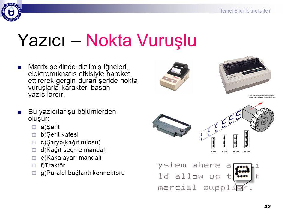 Temel Bilgi Teknolojileri 42 Yazıcı – Nokta Vuruşlu  Matrix şeklinde dizilmiş iğneleri, elektromıknatıs etkisiyle hareket ettirerek gergin duran şeri